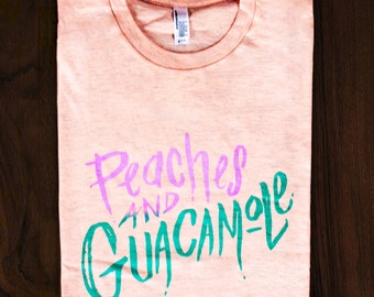 Peaches and Guacamole T-Shirt in Apricot Heather // Independently Designed and Hand Silk-Screened