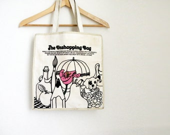 Vintage Canvas Shopping 70s Tote Bag Purse Spiegel Catalog