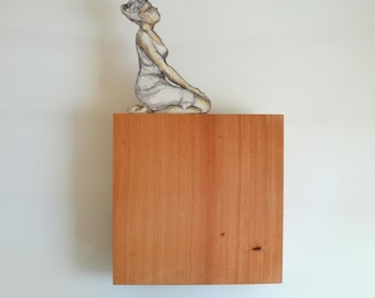 Woman observing-Serie fly on wood-number 5 from 7- Original/woman / female painting on wood. Rest, observ,looking by Cristina Ripper