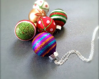 LAST ONE- Glitter Christmas Ball Necklace. You Choose. Red. Green. Round. Christmas. Gift. Holiday. Festive. Under 10 Dollar Jewelry. Sale.
