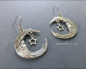 Silver Crescent Moon Earrings. Magic. Mystical. Mythical. Dainty. Vintage Style Metal. Man in Moon. Stars. Gifts for Her. Fantasy. Under 20.