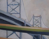 Original Painting. Modern landscape art. Plein Air Philadelphia Ben Franklin Bridge. Small Oil Painting. Geometric design. Contemporary Art.