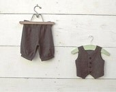 6-9months Vintage style charcoal grey Ring Bearer Outfit, Vest and Pants, Ring Bearer, Ring Boy Outfit, Pageboy outfit, Paperboy outfit