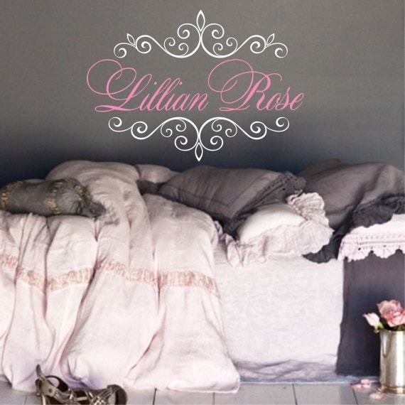 shabby chic name decal girls teen bedroom nursery decal large