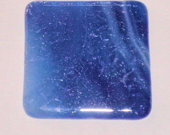 Fused Glass Coaster - Streaky Blue and White Iridescent Crinkle Confetti