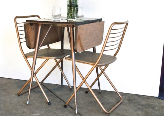 Mid Century Cosco Drop Leaf Table And Folding Chairs
