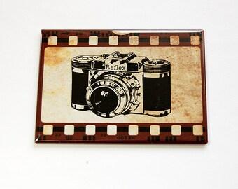 Photography magnet, Camera Magnet, Large Magnet, Fridge magnet, ACEO, Magnet, stocking stuffer, Retro, Film strip, vintage camera (4643)