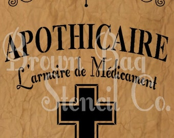 French Stencil - APOTHICAIRE - 11x14.75 7.5 mil mylar