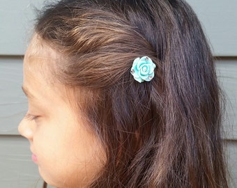 Flower bobby pins with Swarovski crystals set, Rose bobby pin set, hair accessories, gift for her
