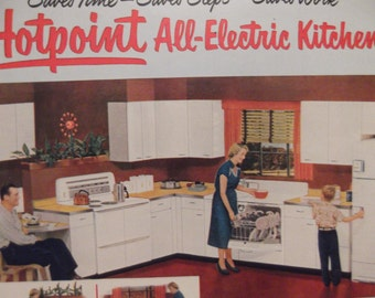 HOTPOINT APPLIANCES Original Vintage Magazine Ad Retro Kitchen Electric Appliances Washer Dryer Ready To Frame Additional Ads Ship FREE