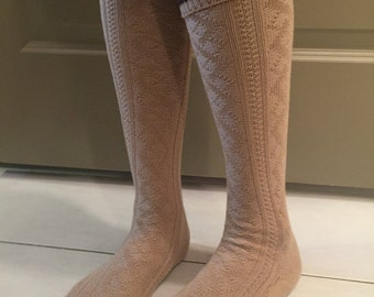 Boot Socks : Cable Knit Cream Knee High with Brown Stripes & Buttons