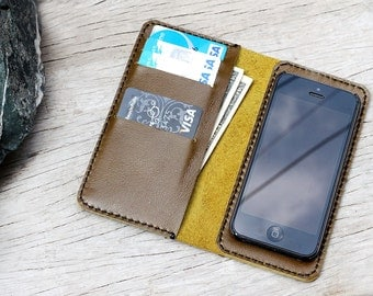 Olive leather iphone wallet with case