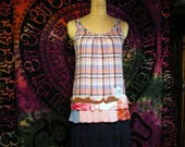 Clearance Size XS Colorful Top Boho Gypsy Hippie Upcycled Upscaled Altered Clothing Eco Chic