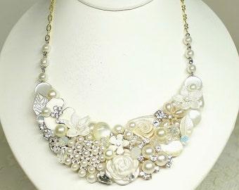 Ivory Bridal Bib Necklace-Vintage Inspired Statement Necklace-Vintage Wedding Jewelry- Wedding Necklace- Ivory Bridal Necklace-Brass Boheme