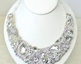 Bridal Statement Necklace- Rhinestone Bridal Necklace-Wedding Necklace-Swarovski Necklace-Bridal Bib-Rhinestone Bridal Bib
