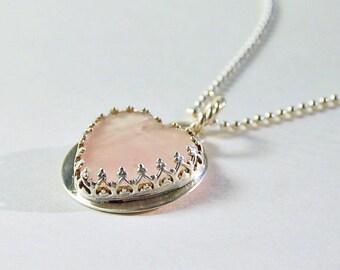 Heart Necklace. Pink Rose Quartz . Romantic Gift .  Handmade Sterling Pendant