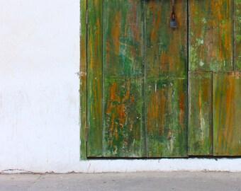 GREEN GREY WHITE Abstract. Old Door.  Antique door hardware. Green. Red. Orange.