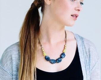 Chunky Labradorite Necklace, Stone Necklace, Short Statement Necklace, Gray Necklace