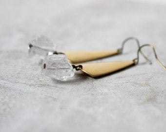 SALE 30% OFF - Raw Quartz Earrings, Crystal Quartz & Brass Earrings, Modern Gemstone Earrings, Raw Stone Earrings
