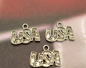 USA Word Charm   - 4 pieces-(Antique Pewter Silver Finish)--style 605--