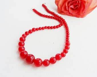 Red Jade Necklace - Gemstone Necklace - Choker - Round Beads Necklace - Red Necklace - Unique Gift