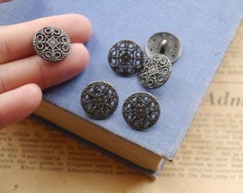 8 pcs Gunmetal Shank Buttons 18mm (SB364)