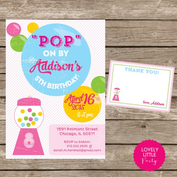 DIY Printable Vintage Bubblegum Invitation Kit Girl - Invite AND Thank You Card included