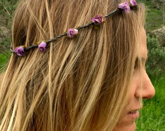 Dainty Flower crown, flower headband, rose crown, coachella, festival flower crown, wedding, day of the dead, flower halo, floral crown