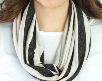 Grey and White Stripe Infinity Scarf