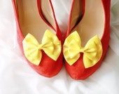Yellow Shoe Clips - Bows Clips Bridal Wedding Shoes Clips Engagement Party Bride Bridesmaid