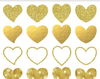 Gold Glitter and Foil Hearts Digital Clip Art Set - 16 Pieces, Heart, Love, Wedding, Save the Date, Valentine's Day, Sparkle, Shine, Bokah