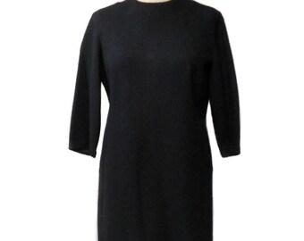 vintage 1960's black sheath dress / Candy Jrs. / wool / lbd little black dress / 60s dress / women's vintage dress / tag size 15