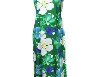 vintage 1960s KAMEHAMEHA Hawaiian dress / floral tropical / maxi dress / cotton / 60s dress / women's vintage dress / size medium