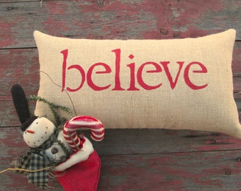 believe pillow, Christmas decor, red accent pillow, burlap pillow, inspirational pillow by whimsysweetwhimsy, READY To SHIP