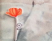 Poppy Bicycle Brooch coral pink flower velocipede pin