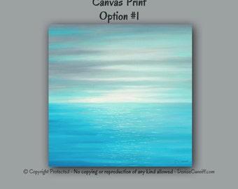 Large wall art, Sunset abstract, Beach decor, Seascape, Teal blue, Gray & teal wall decor, Canvas print, Ocean artwork, Bedroom,Grey aqua