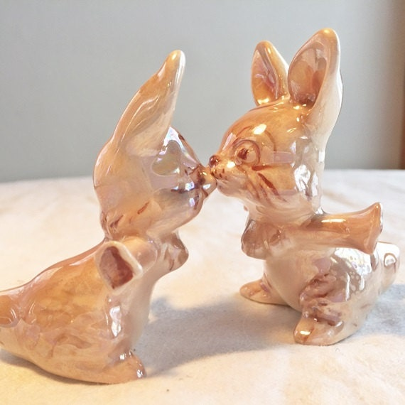 Kissing Bunny Ceramic Figurines / Easter Bunny Collectibles