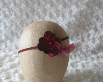 Headband Burgundy Wine Ruby flower Baby Newborn Photography Prop Pearl Feather Fabric Flower Twine Halo Tieback