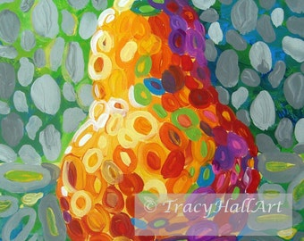"Colorful Pear Art PRINT from original painting ""Pear Whimsy"" by Tracy Hall"