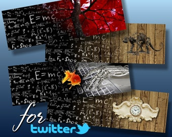 FORMULA  - 4 Twitter Web Banners Design Digital Collage ChikUna Art - Personal & Business Use Blog Banner
