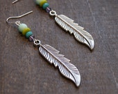 Large Feather Earrings Silver Feather Earrings Beaded Feather Earring Feather Jewelry Silver Feathers Native American Jewelry Tribal Feather