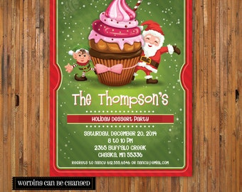 Holiday Dessert Party Invitation - Christmas Cupcake invitation - Kids Christmas Invitation - Christmas Birthday Party Invite - Item C0025