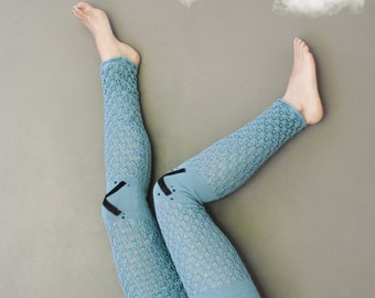 Knit Leggings / Blue Knit Pants / Women pants / Warm Blue Leggings / Women Fashion Pants