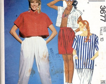 "1980s Women's Bra Top, Pants and Shorts Pattern - Size 10, Bust 32 1/2"" - McCall's 3677"