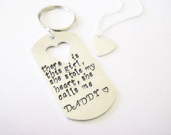 There is this Girl she stole my heart she calls me Daddy Daughter Keychain Necklace Set, Father's Day Gift, His Hers Personalized Keychain