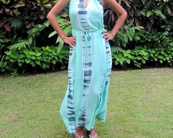 Women's Maxi Dress, Tie Dye Green Dress, summer Dress, cutout dress, beach dress, sun dress