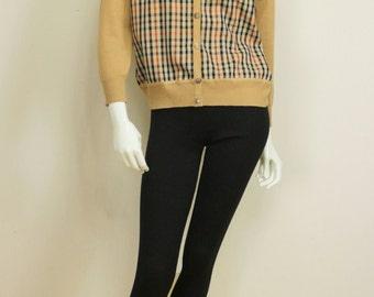 Womens vintage Preppy plaid cardigan Tartan jacket Tan black red wool cardigan long sleeve Button down Cropped cardigan Scottish wool jacket