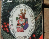 Lace Ornament Cross Stitch Christmas Santa Kit, Holiday Craft Kit