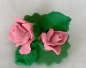 Hand-Sculpted Polymer Clay Pink Roses Pin/Brooch
