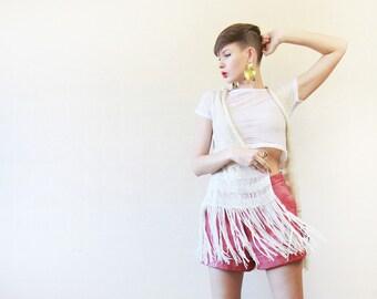 Vintage off white long fringe knit bohemian  coachella festival vest top